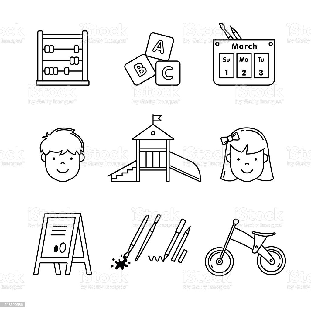 Kindergarten education icons thin line art set vector art illustration