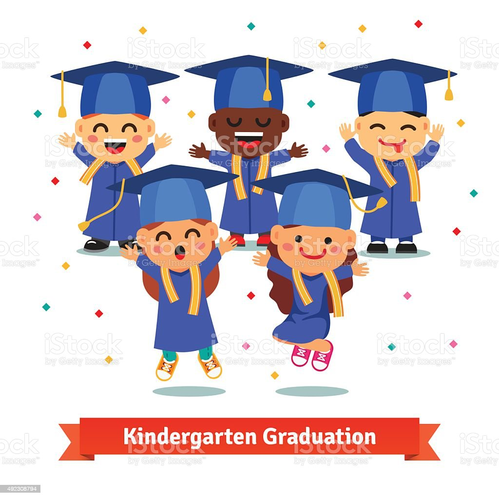 Kindergarten graduation party vector art illustration
