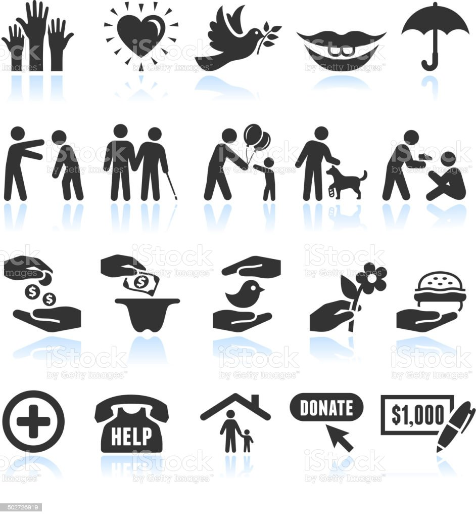 Kindness Helping black and white royalty-free vector interface icon set vector art illustration