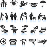 Kindness Helping black and white royalty-free vector interface icon set