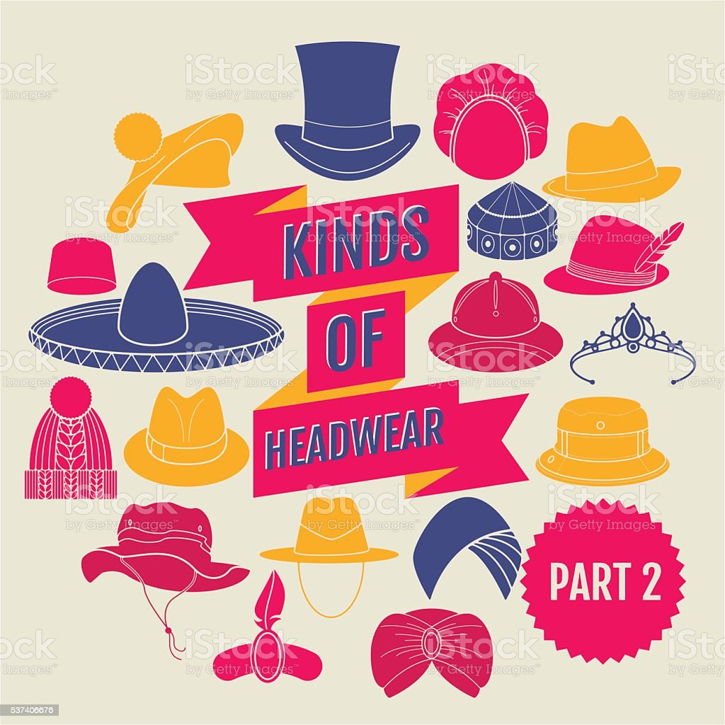 Kinds of headwear. Part 2 vector art illustration