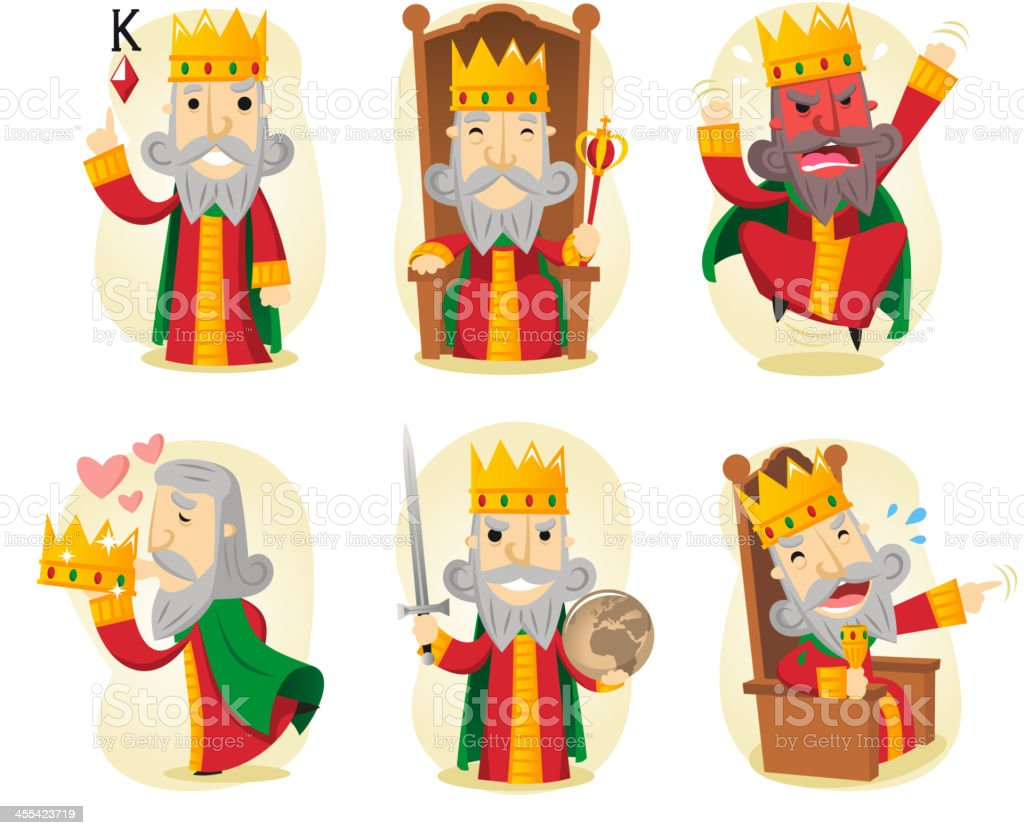 King action set vector art illustration