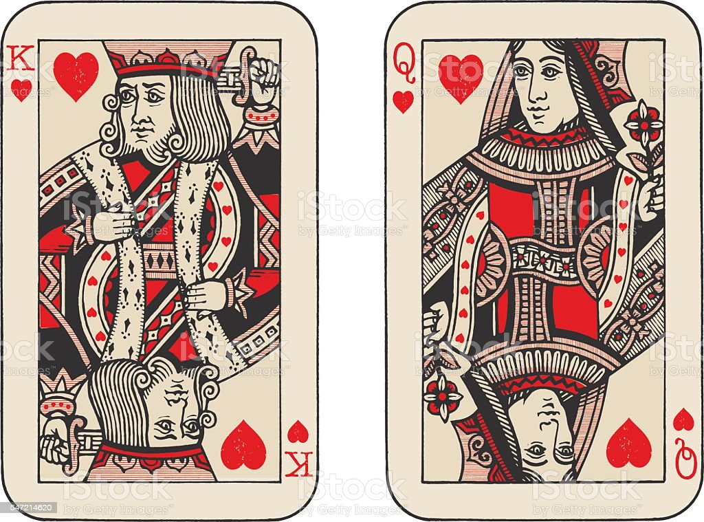 King and Queen of Hearts illustration vector art illustration