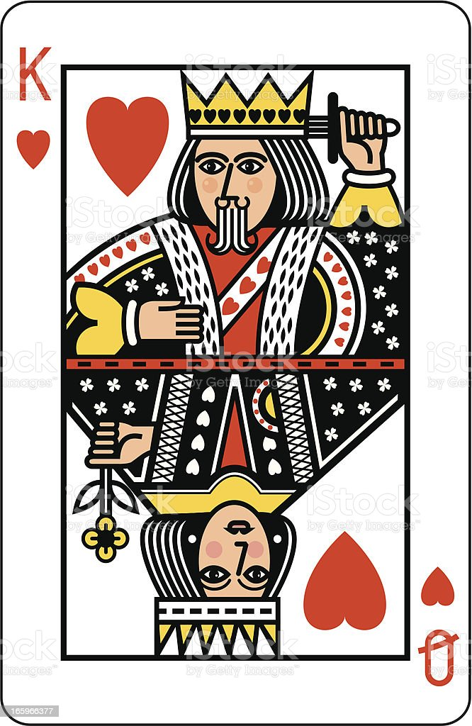King and Queen of Hearts Playing Card vector art illustration