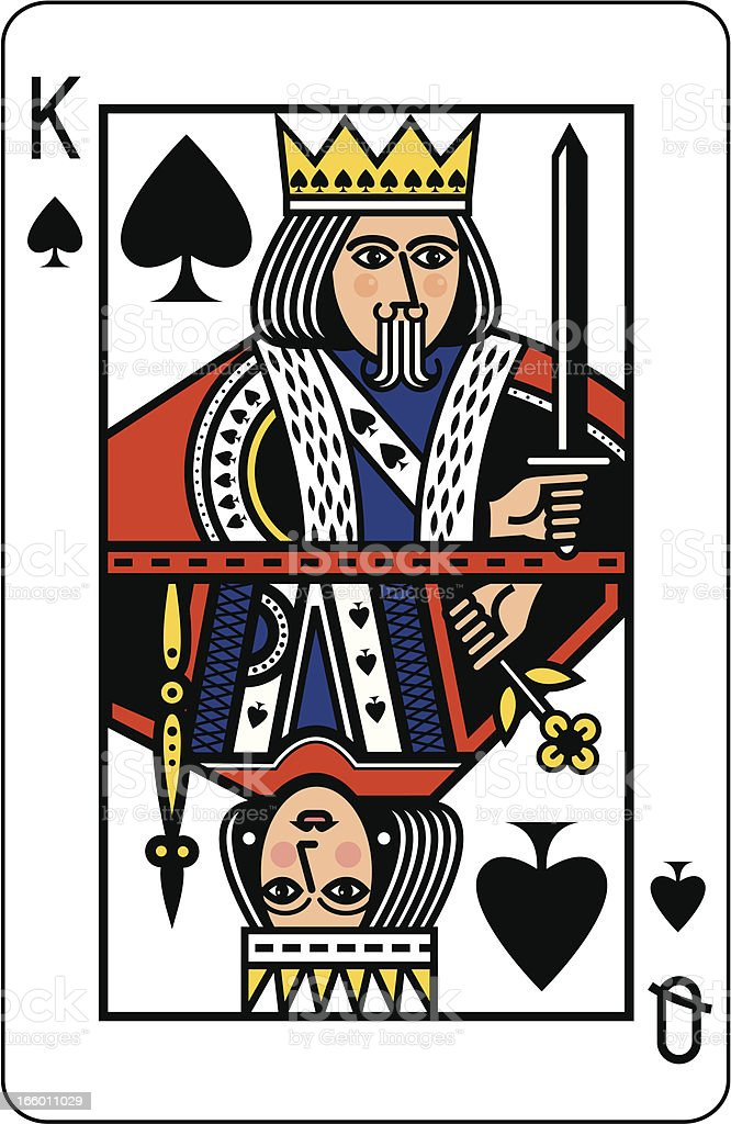 King and Queen of Spades Playing Card vector art illustration