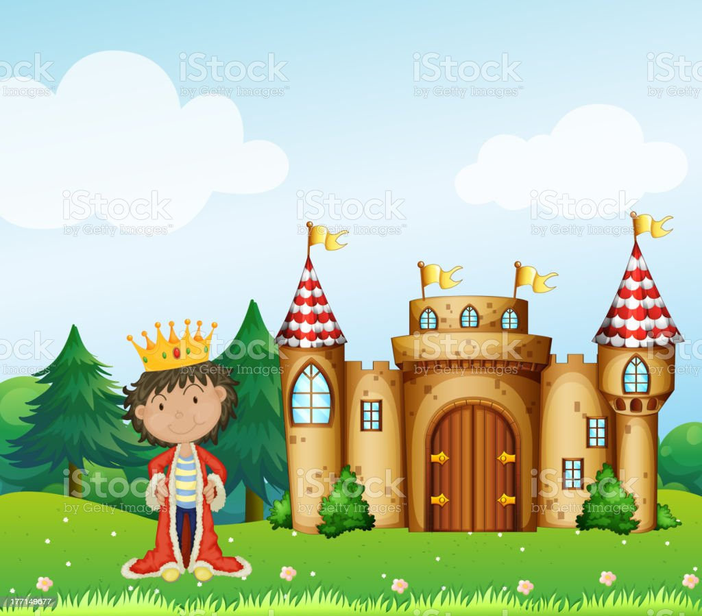 King in front of his castle royalty-free stock vector art