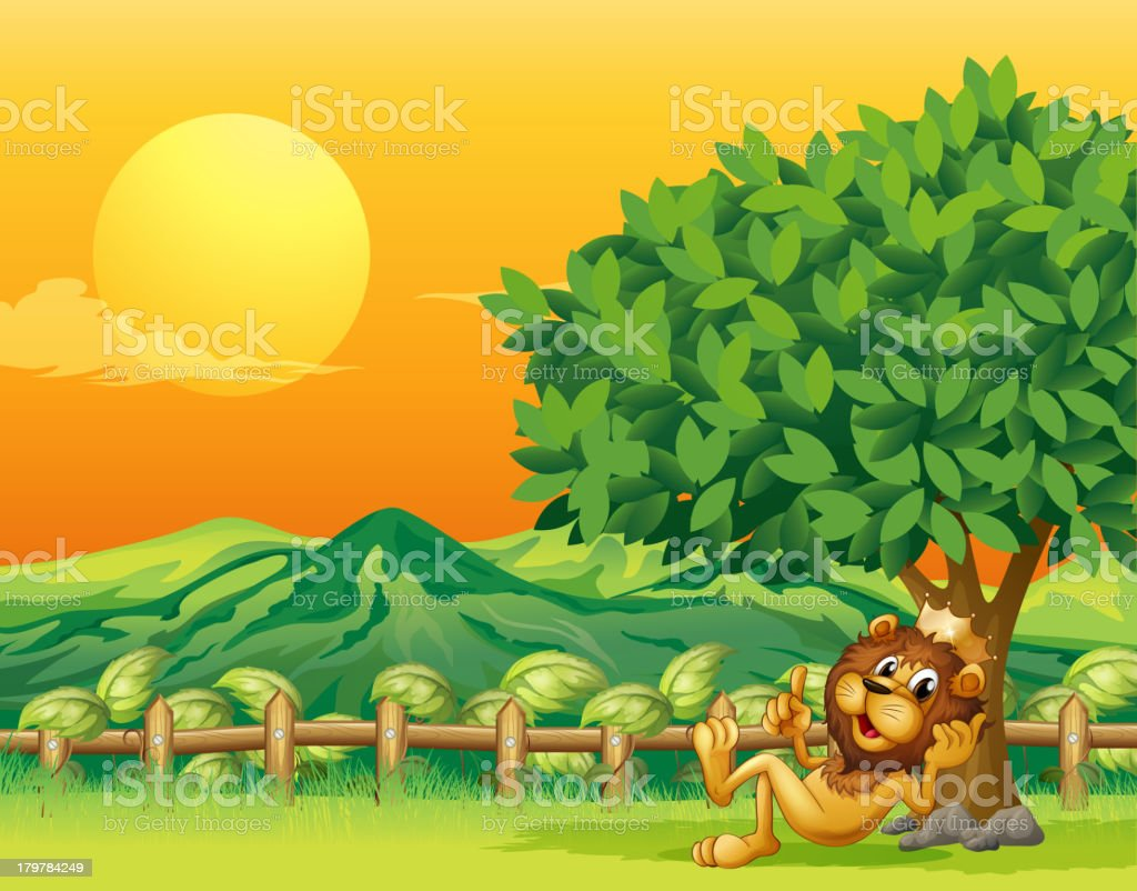 King lion inside the wooden fence royalty-free stock vector art