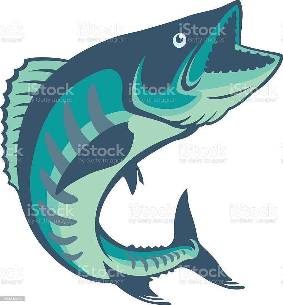 king mackerel vector art illustration