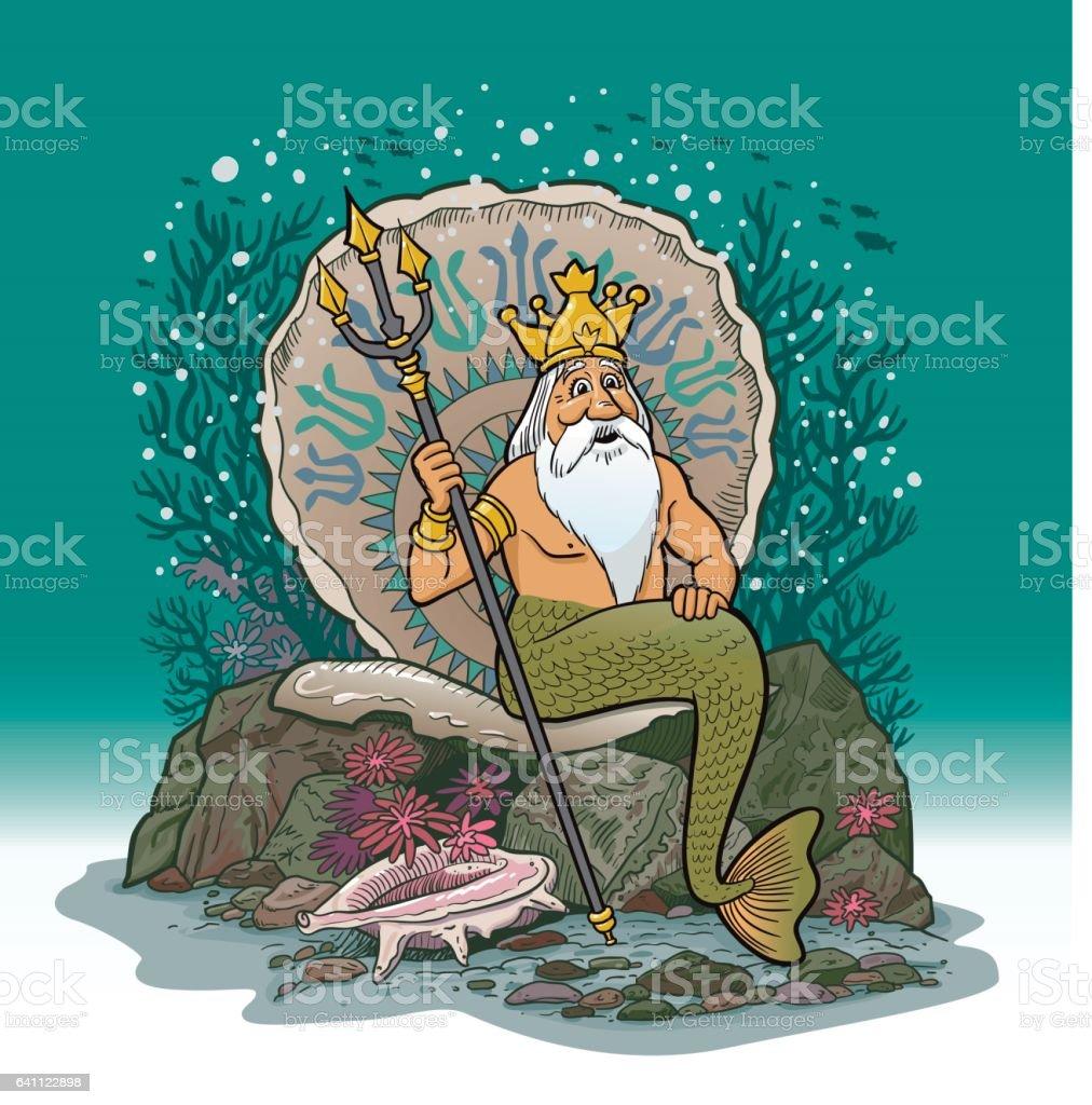 King Neptune Under Water Cartoon vector art illustration