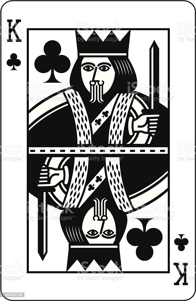 King of Clubs Black royalty-free stock vector art