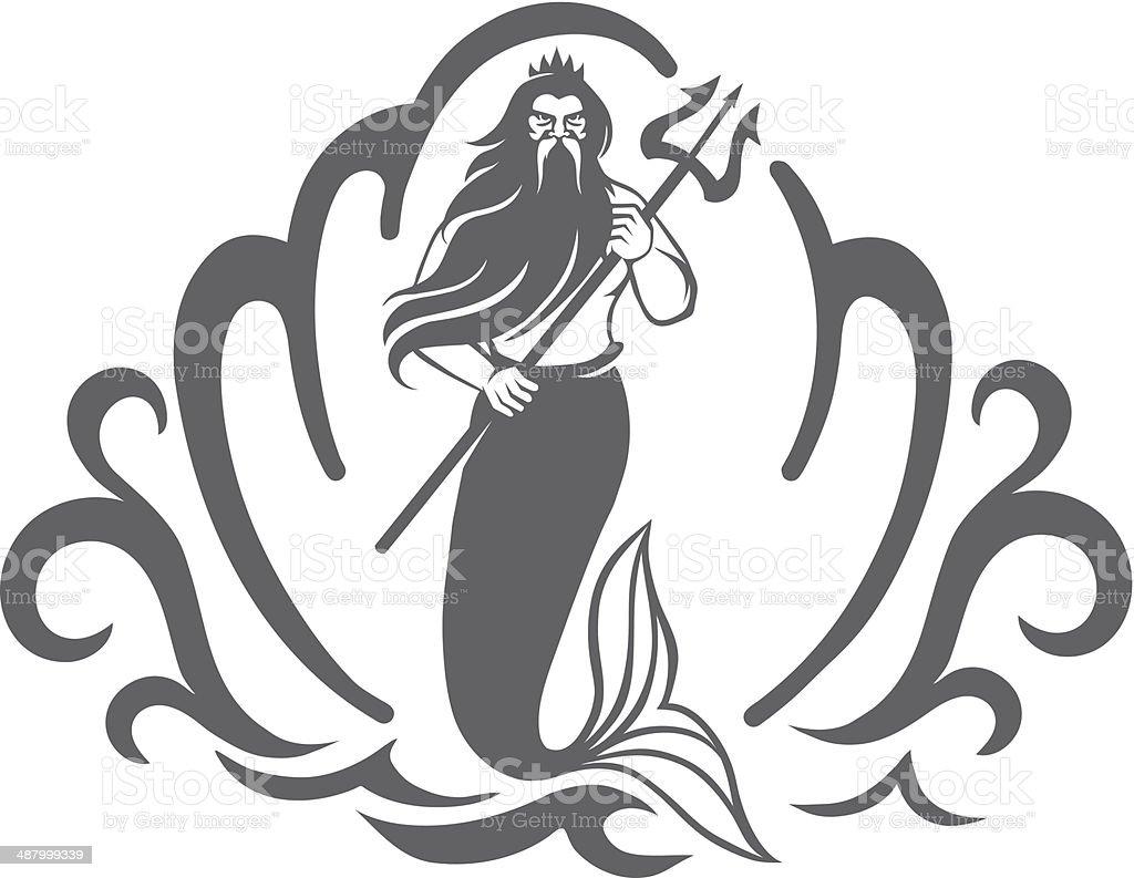king of sea vector art illustration