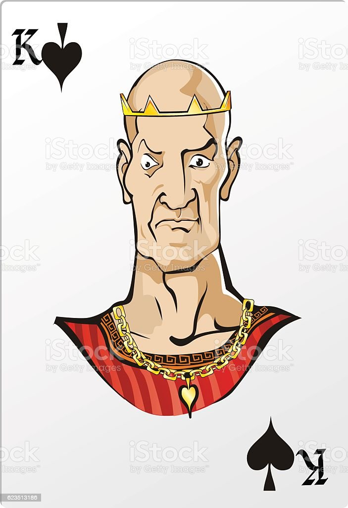 King of spade. Deck romantic graphics cards vector art illustration