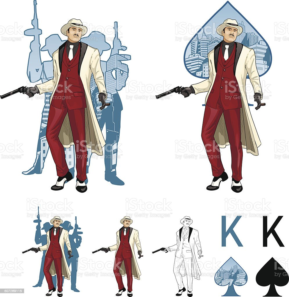 King of spades asian mafioso godfather with crew silhouettes Mafia vector art illustration