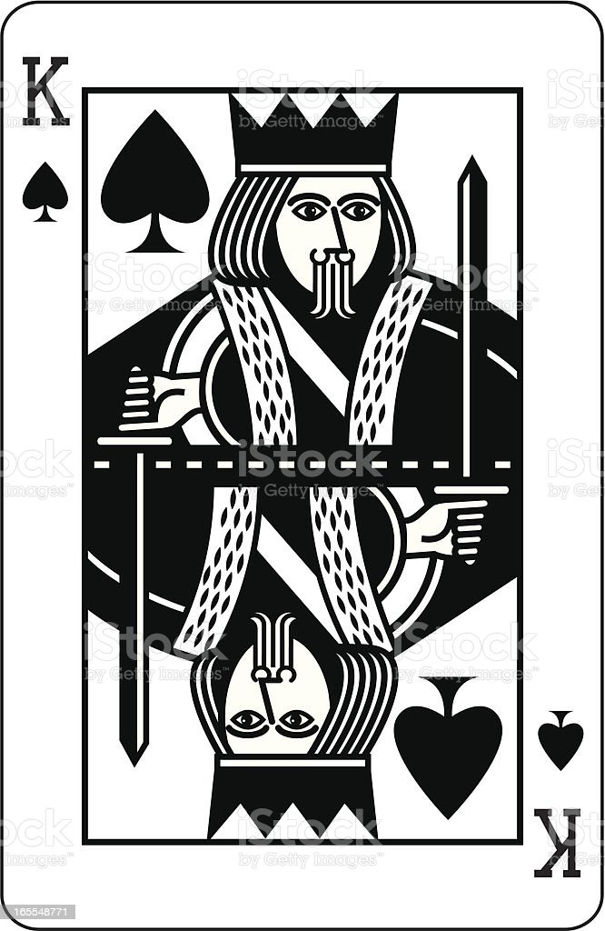 King of Spades Black vector art illustration