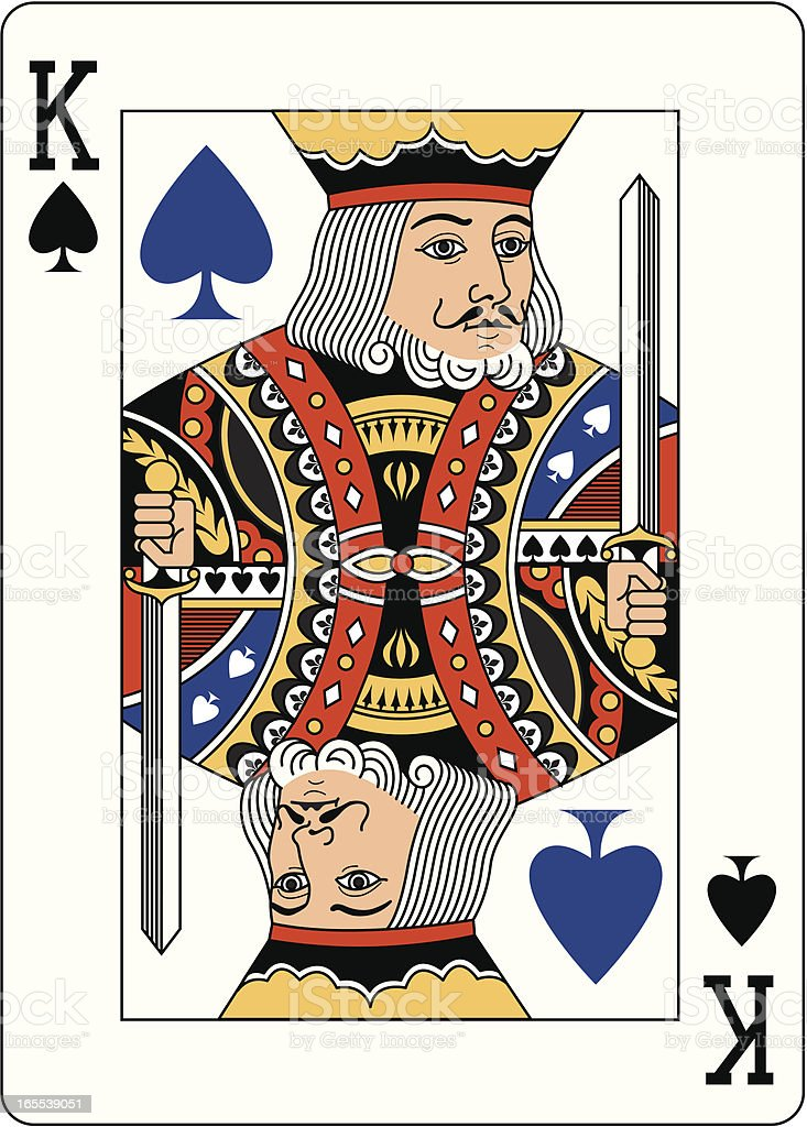 King of Spades Blue playing card vector art illustration