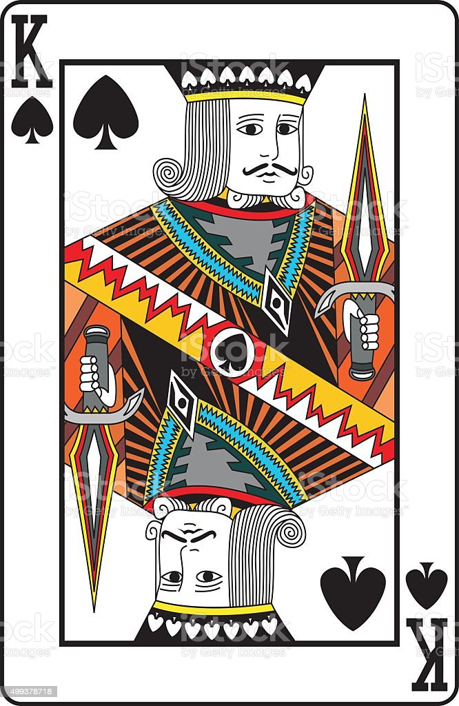 King of spades playing card vector art illustration