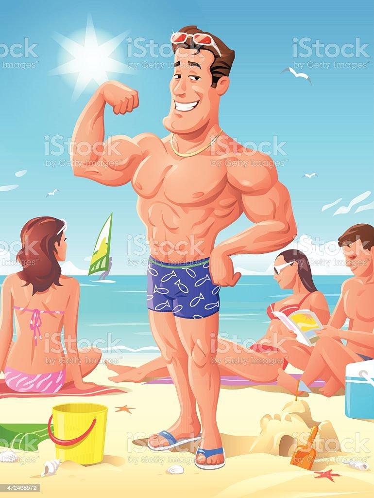King Of The Beach vector art illustration