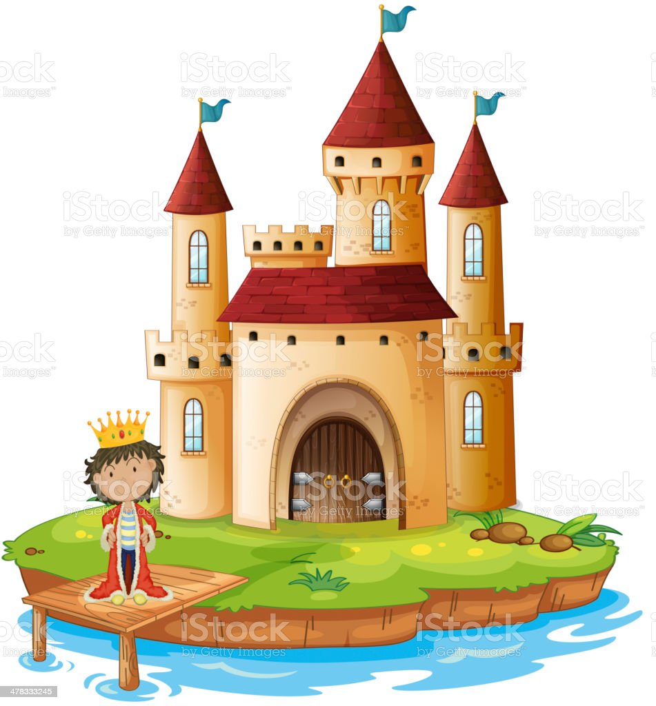 King outside his castle royalty-free stock vector art