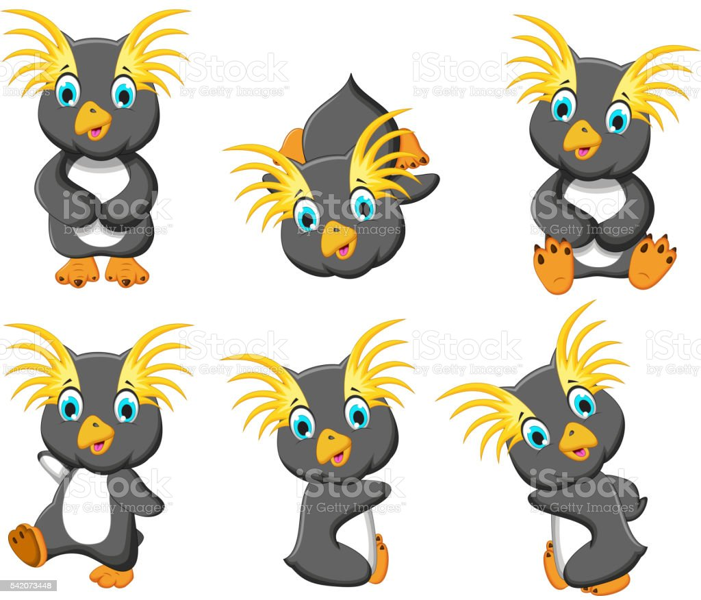 king penguins cartoon set character vector art illustration