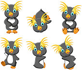 king penguins cartoon set character