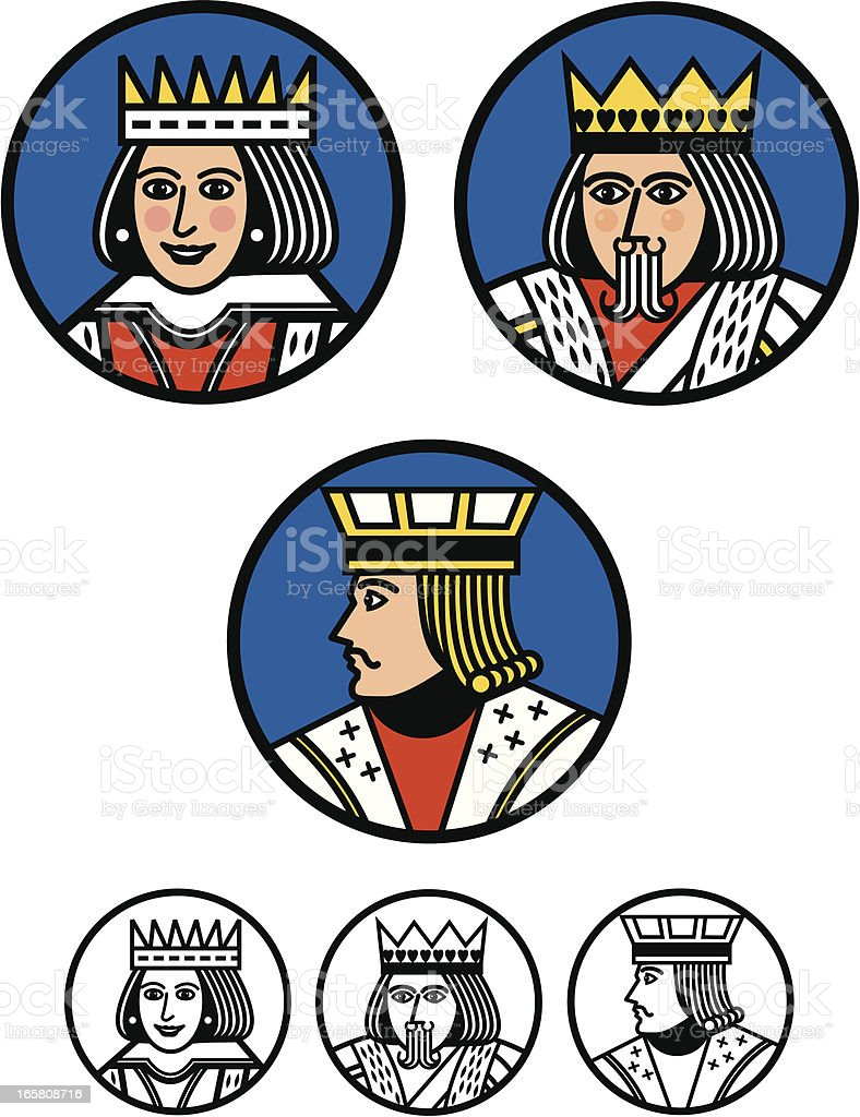 King, Queen and Jack Buttons vector art illustration