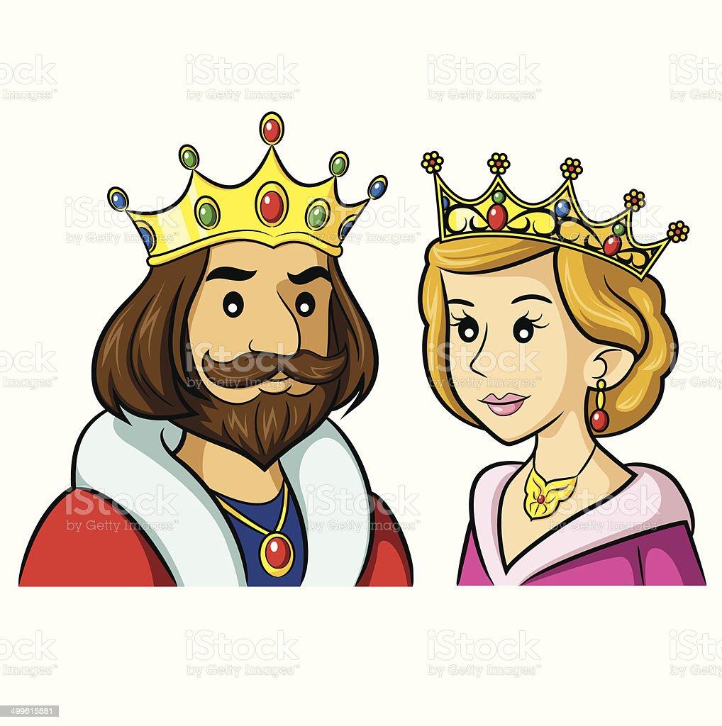 King Queen Cartoon vector art illustration