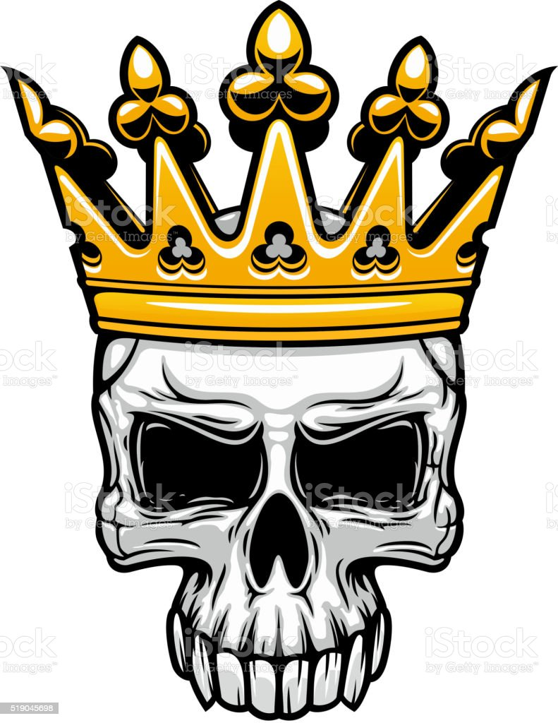 King skull in royal gold crown vector art illustration