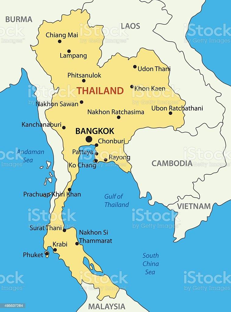 Kingdom of Thailand - vector map vector art illustration