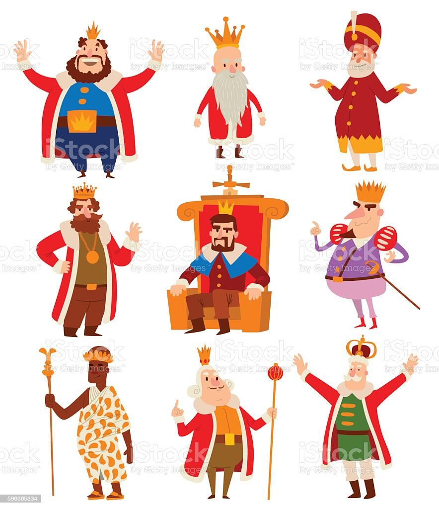 Kings cartoon vector set. vector art illustration