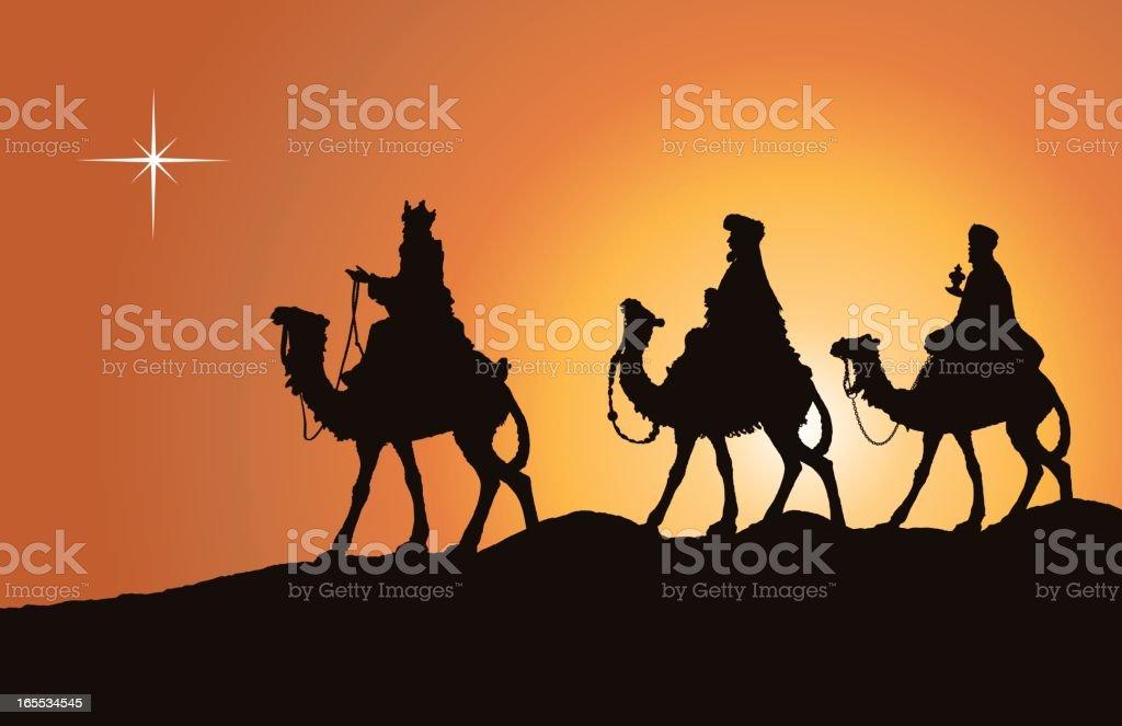 Kings on Camels (Vector) vector art illustration