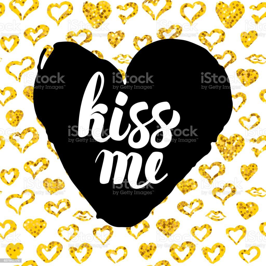 Kiss Me Postcard Design vector art illustration