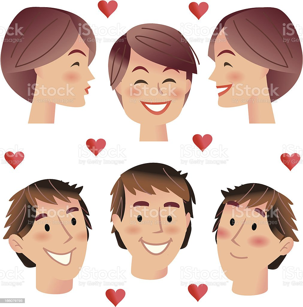 Kissing Boys and girls vector art illustration