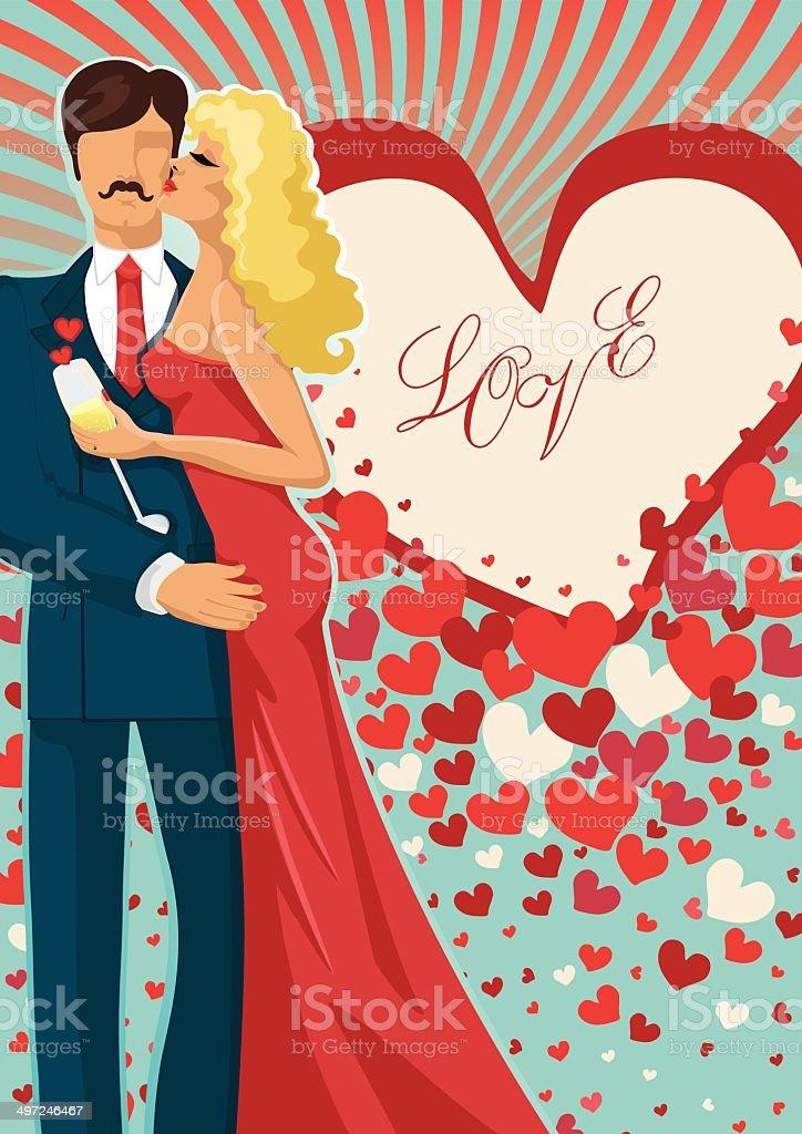 Kissing couple abd flying hearts vector art illustration