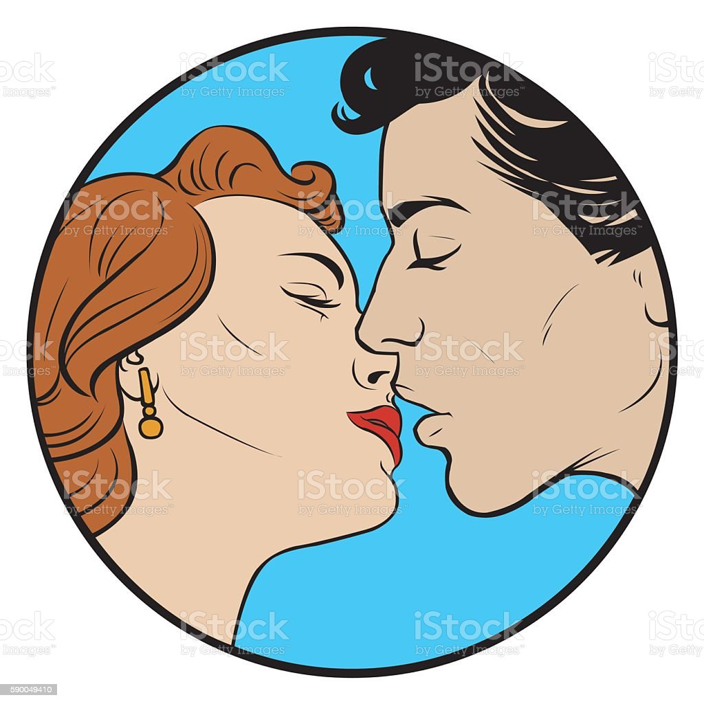 kissing couple in retro style royalty-free stock vector art