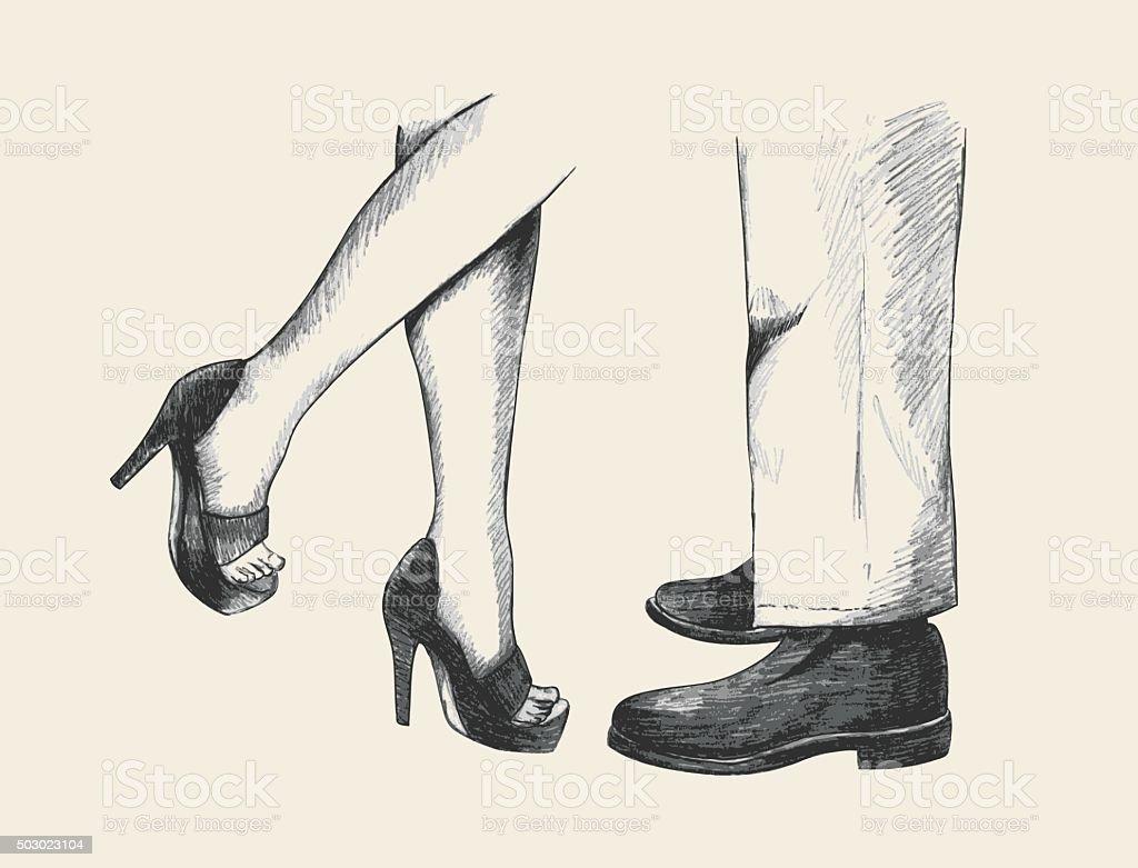 Kissing Couple Legs vector art illustration