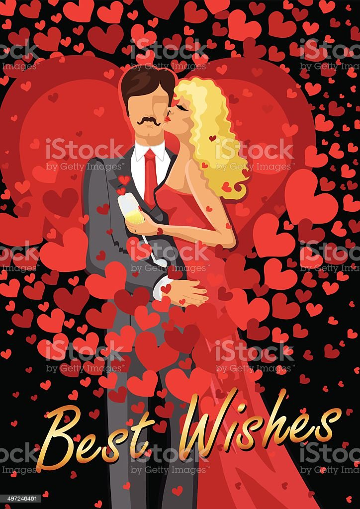 Kissing couple  man and woman with red hearts vector art illustration