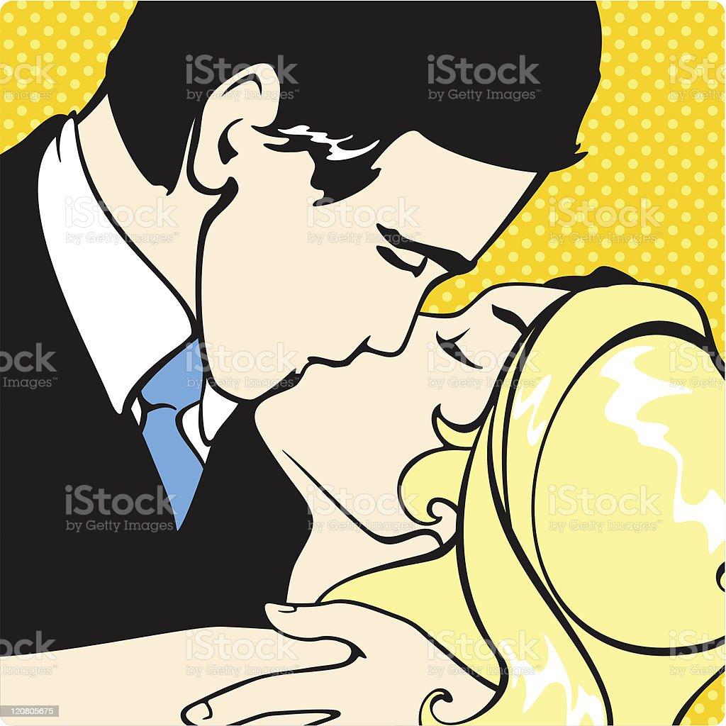 Kissing couple royalty-free stock vector art