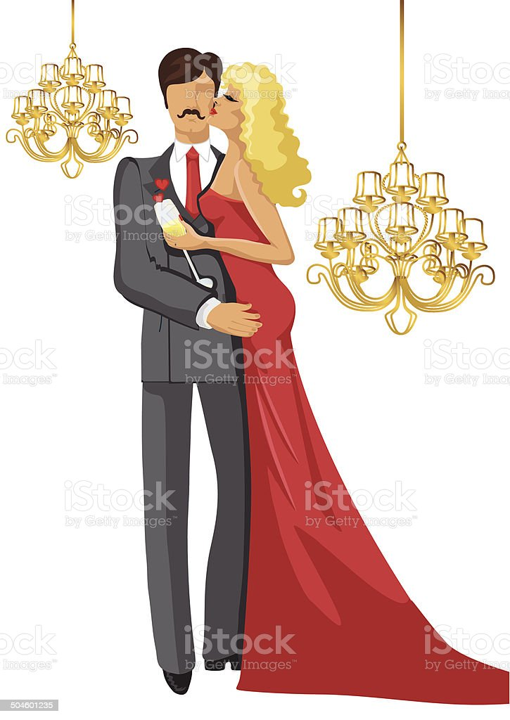 Kissing Couple  with chandeliers vector art illustration