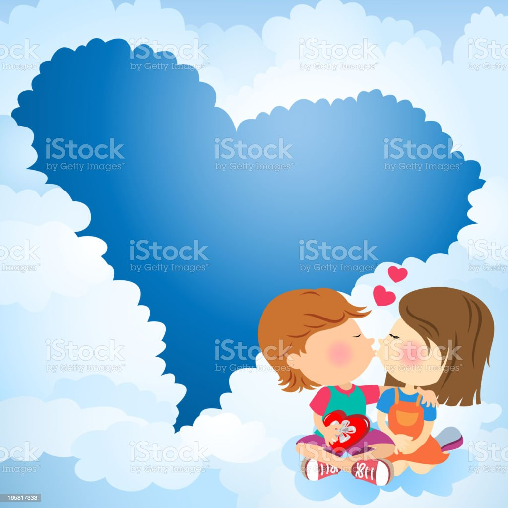 Kissing in the Sky royalty-free stock vector art