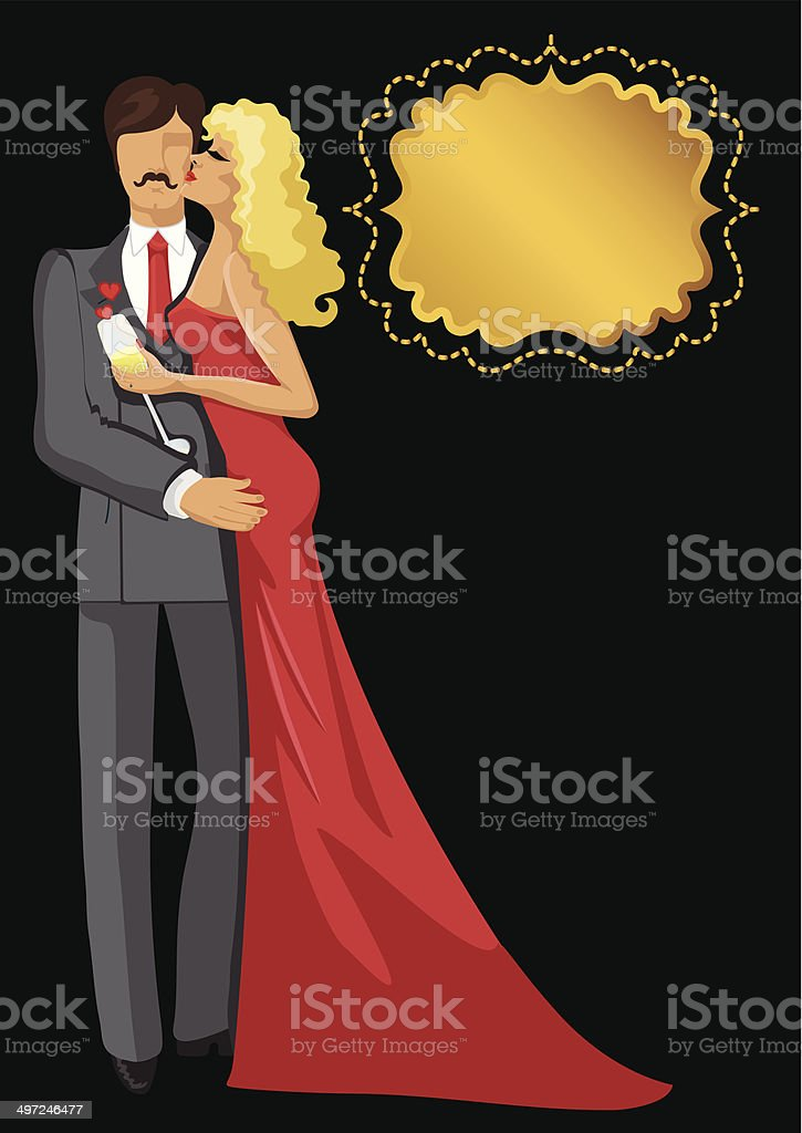 Kissing Lovers.Couple man and woman vector art illustration