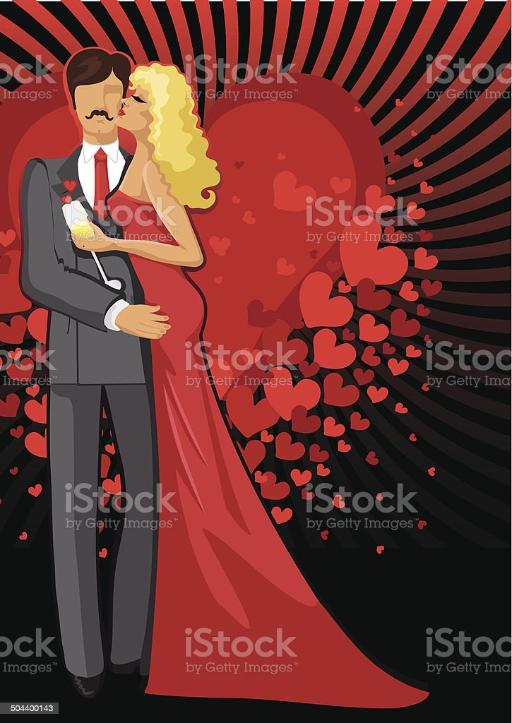 Kissing Lovers.Romantic couple man and woman vector art illustration