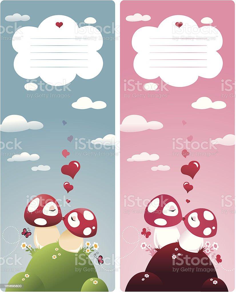 Kissing Mushroom Couple in Love royalty-free stock vector art