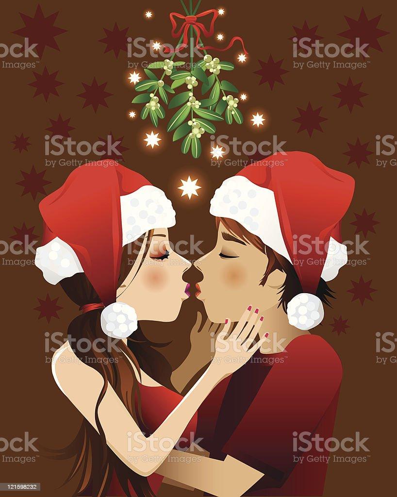 kissing under the mistletoe royalty-free stock vector art
