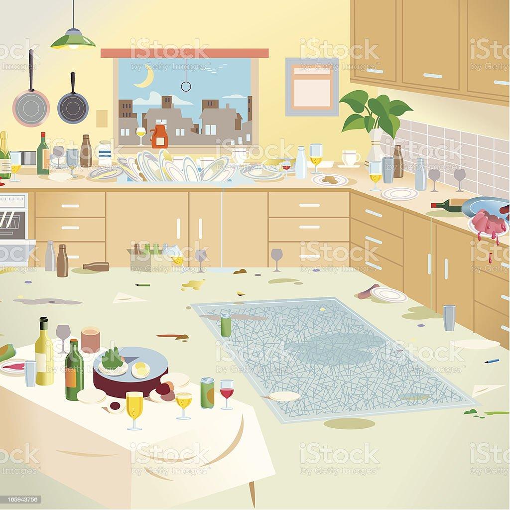 Kitchen - after the party vector art illustration