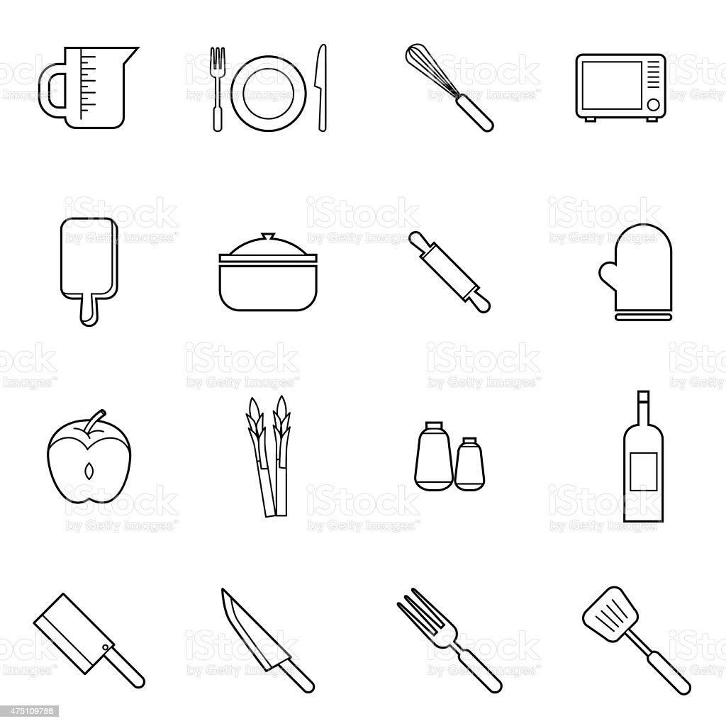 kitchen and cooking icons set vector illustration vector art illustration