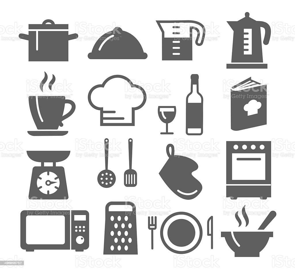Kitchen and Cooking Icons vector art illustration