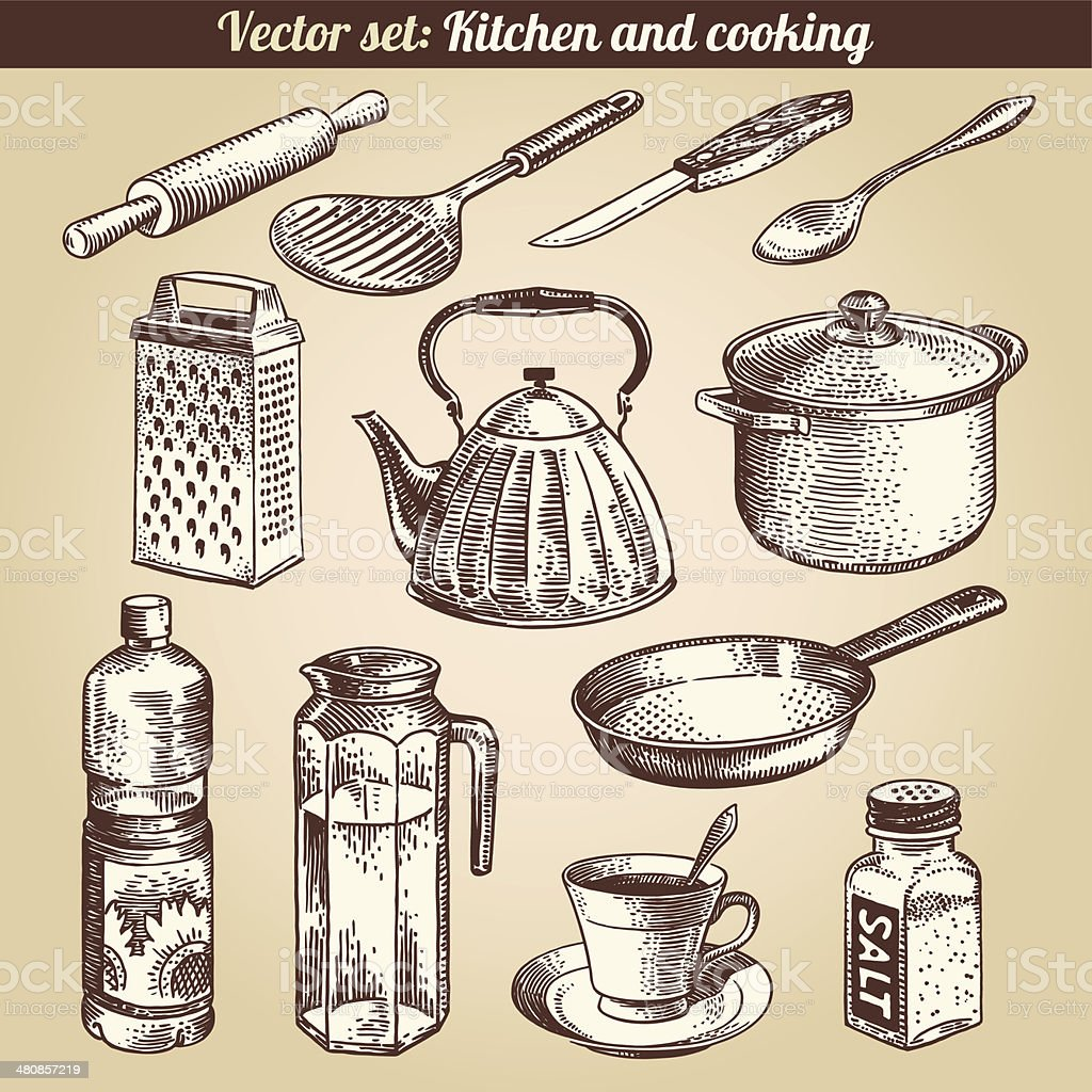 Kitchen And Cooking Set Vector vector art illustration