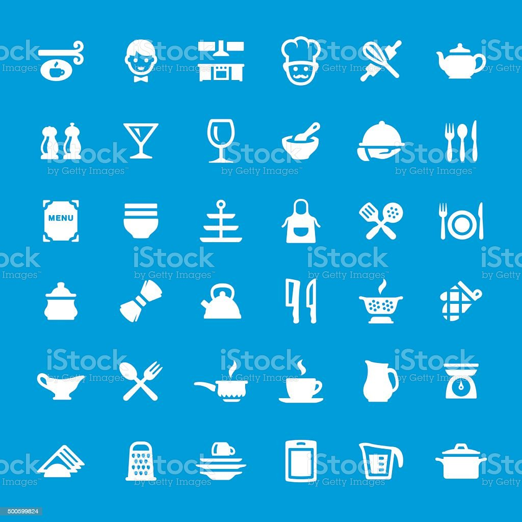 Kitchen and Cooking vector icons set vector art illustration