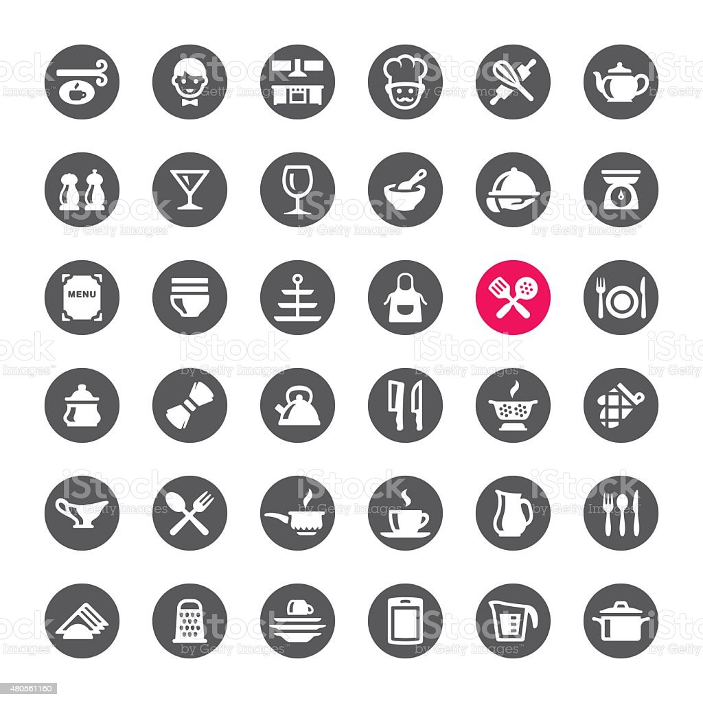 Kitchen and Cooking vector icons vector art illustration