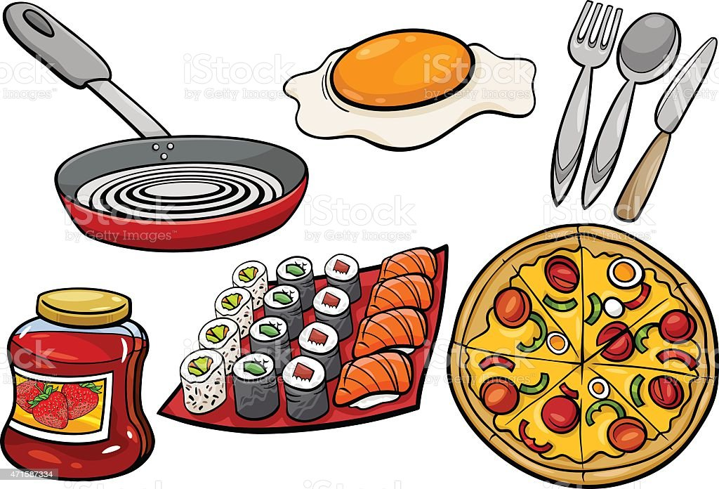 kitchen and food objects cartoon set vector art illustration